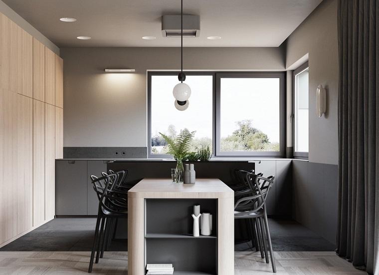Arredare casa idee originali, sala da pranzo con set di mobili bicolore, due diverse pavimentazioni