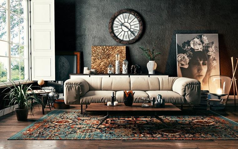 Come arredare la casa, soggiorno arredo con un divano in pelle e tavolino basso in legno