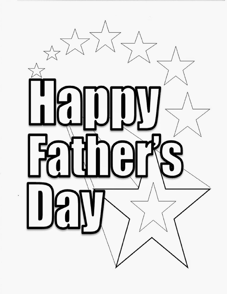 scritta happy father s day da stampare e colorare per bambini disegno di stelle