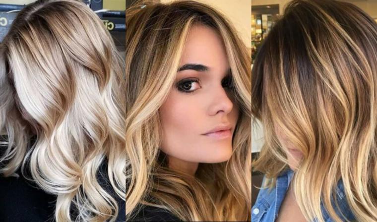 esempi di degradè capelli biondi con acconciature ondulati secondo il trend di stagione