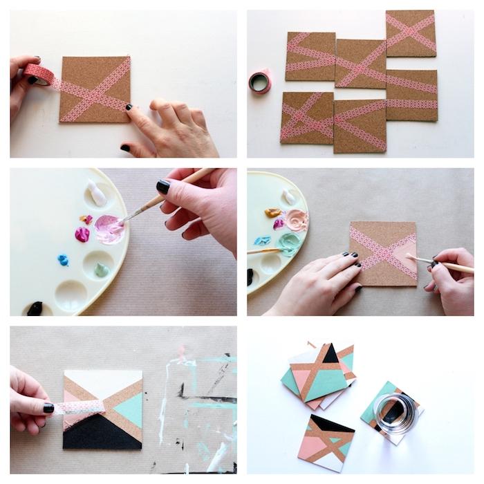 Sottobicchiere di sughero decorato con nastro washi tape, tutorial per regalo fatto a mano