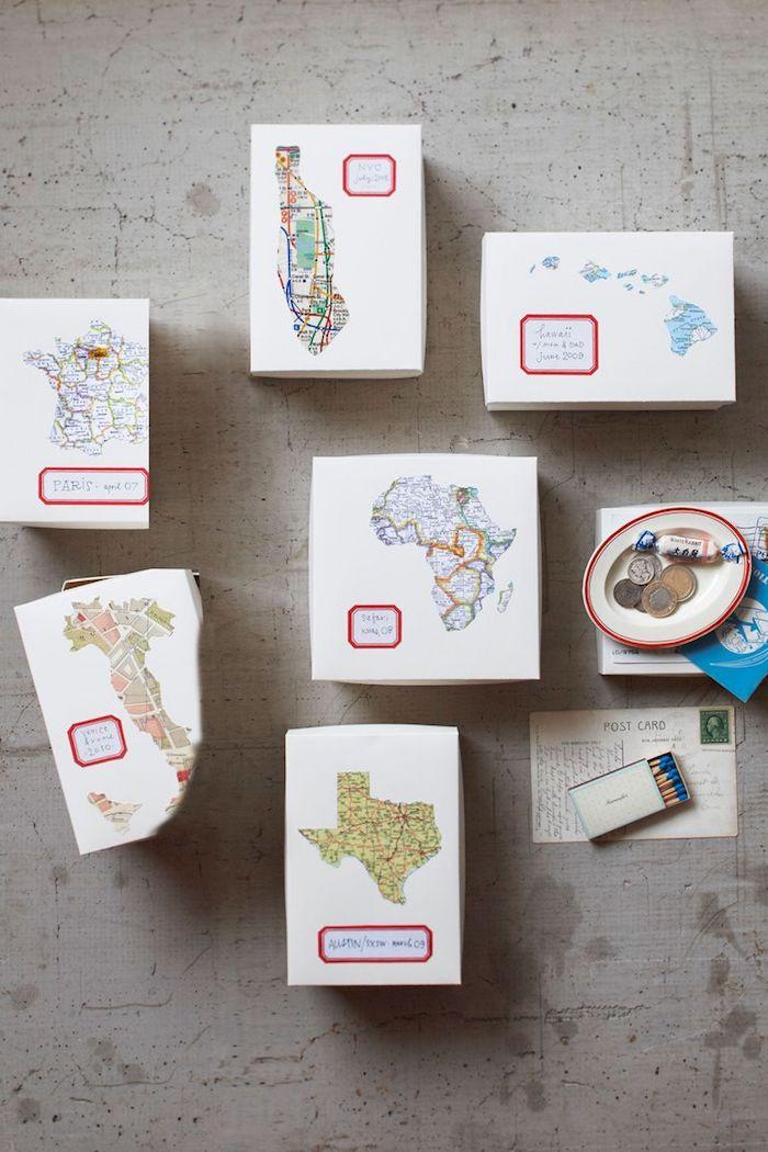 Regali fai da te, scatole di cartone, scatoline con i continenti, scatole regalo con scritte
