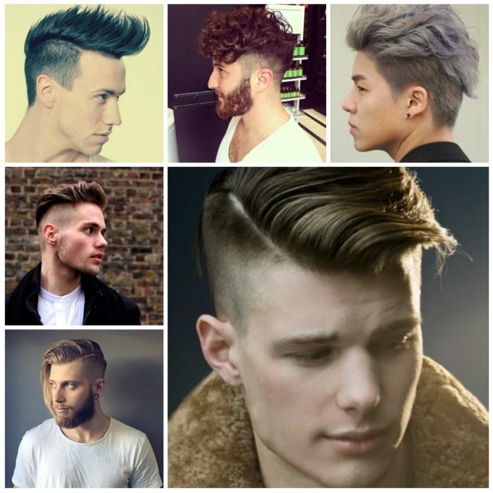 ragazzi con dei tagli capelli maschili di tendenza con ciuffi lunghi e lati rasati