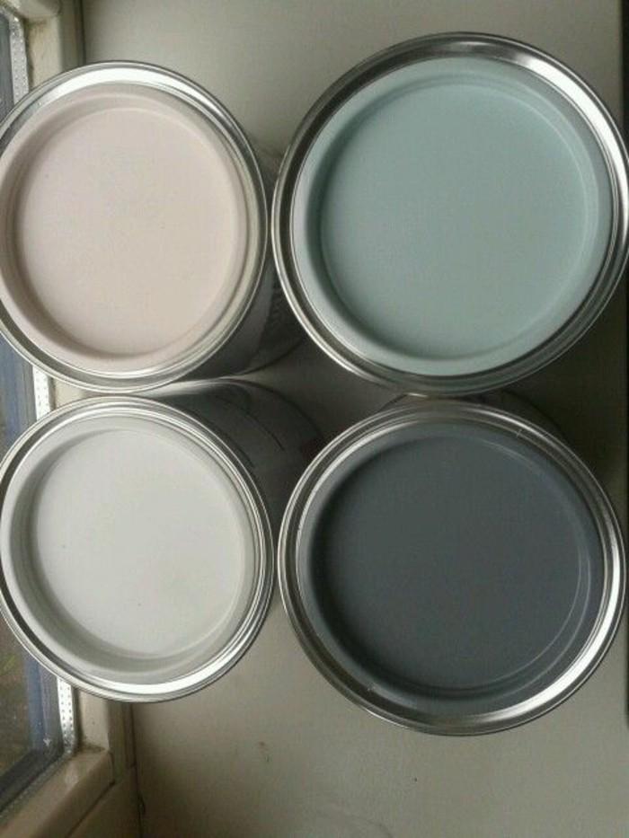 Barattoli di latta con coperchi, vernice di color tortora, nuance di colori per la casa