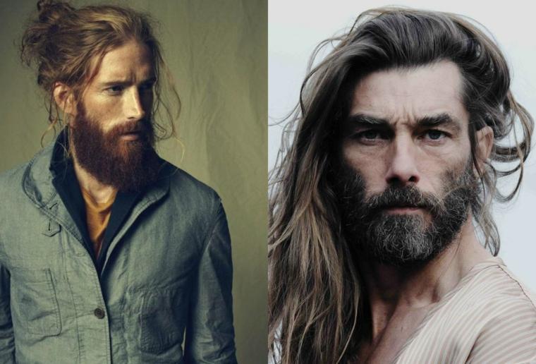 Idea acconciature per capelli lunghi, uomini belli in un collage di due foto