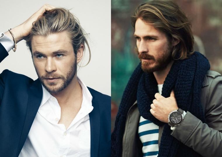 Capelli lunghi uomo, taglio irregolare long bob, idea acconciatura capelli legati