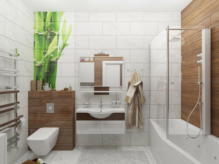 Come arredare un bagno, mobile bianco inserti in legno sospeso, piastrelle bianche decorate
