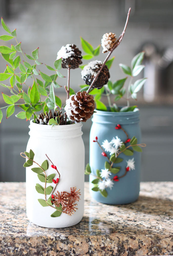 Vaso da barattolo di vetro, barattolo dipinto e decorato, idea regalo per la mamma