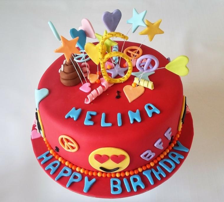Cake design con gli Emoji, torta rotonda rivestita e decorata con pasta di zucchero