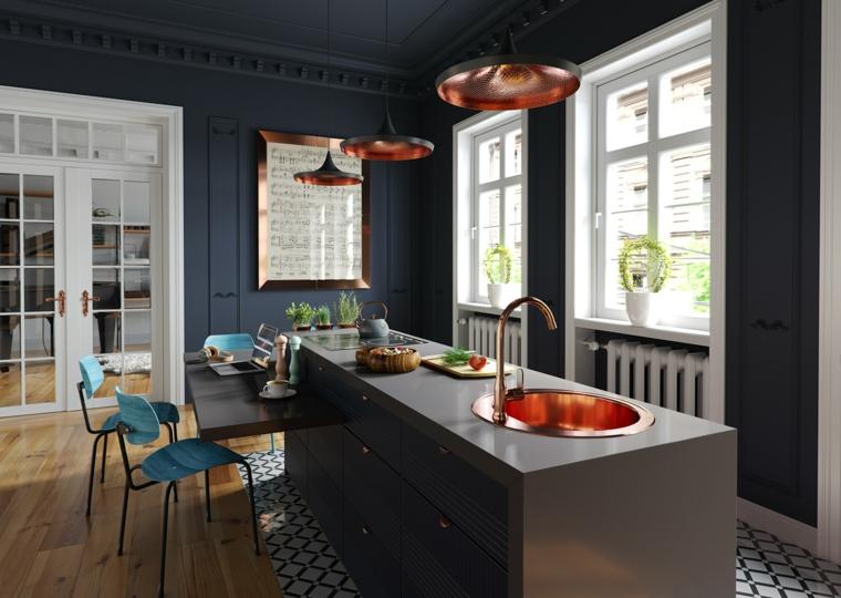 Arredare cucina soggiorno ambiente unico, pareti di colore scuro, tavolo da pranzo allungabile sporgente dalla cucina
