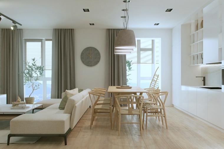 Arredare piccoli spazi, tavolo da pranzo di legno, divano colore beige