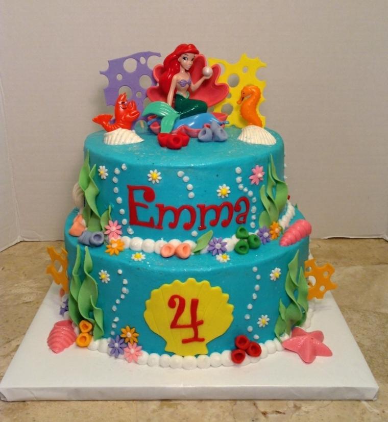 Torta di compleanno ispirata alla sirenetta Ariel, decorazione con pasta di zucchero colorata