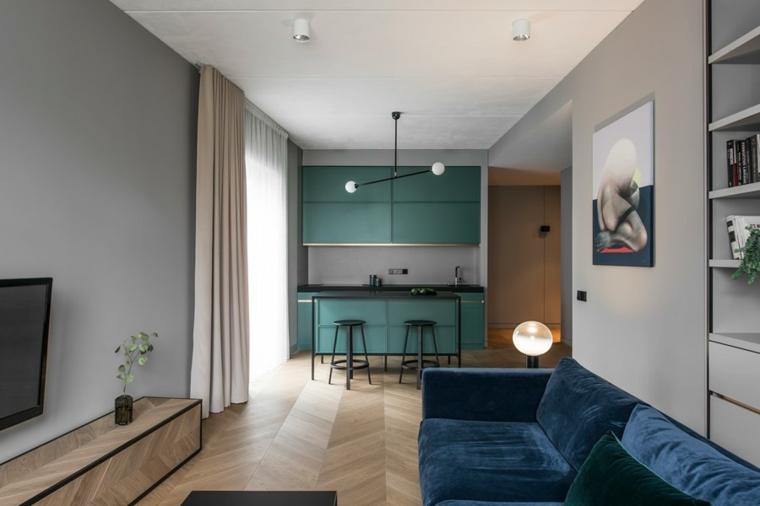 Arredare cucina piccola di colore verde, abbinamento colore pavimento beige e tende