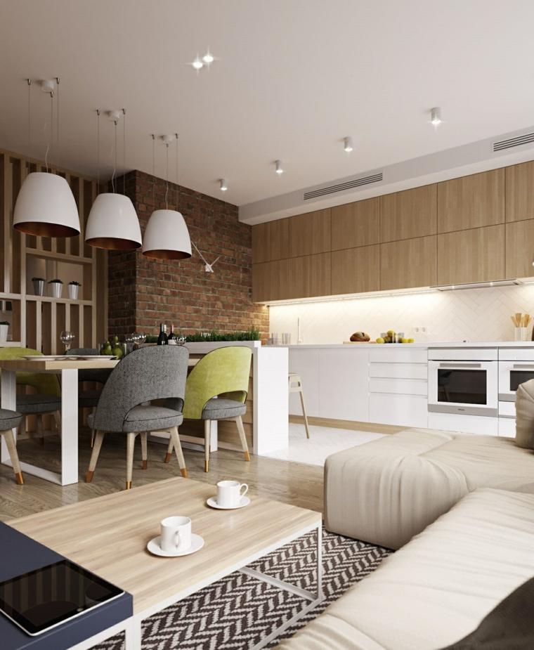 Cucina soggiorno ambiente unico, parete effetto pietra, pavimento cucina piastrelle bianche