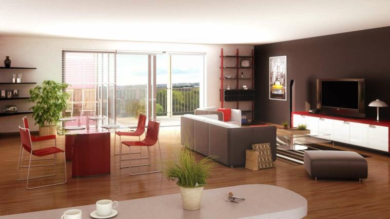 soggiorno e zona cucina combinati, pavimento in parquet e ampia vetrata, pareti bianche e nere