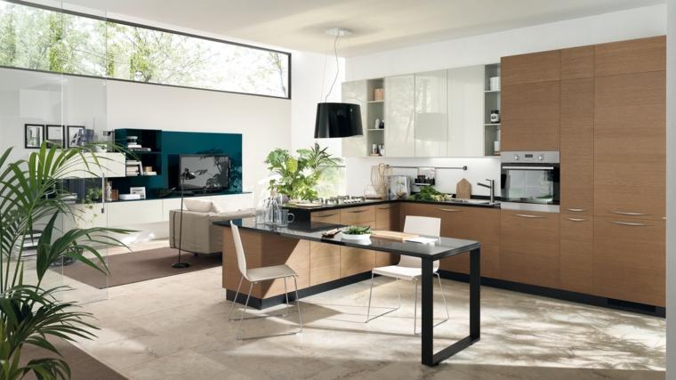idea per arredare una soluzione open space con cucina ad angolo completa di tavolo e zona soggiorno