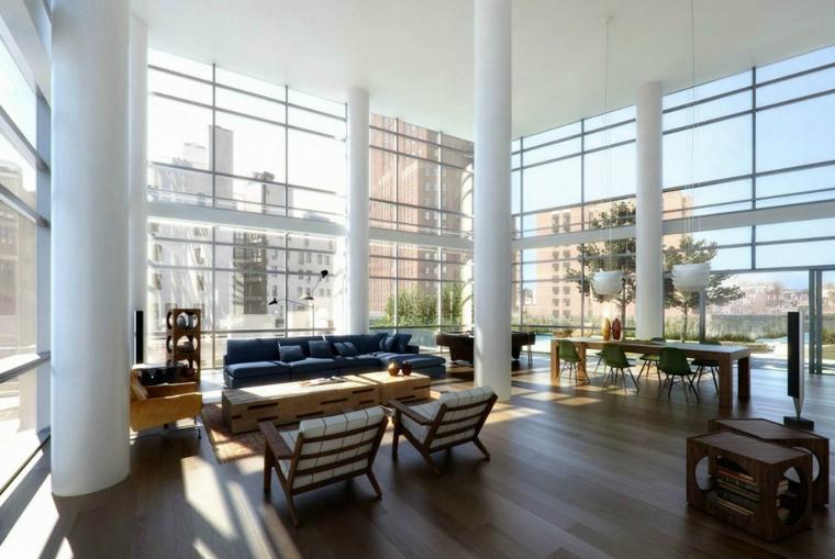 ampia e luminosa stanza, idea per come arredare soggiorno open space con tavolo rettangolare e divano con chaise longue