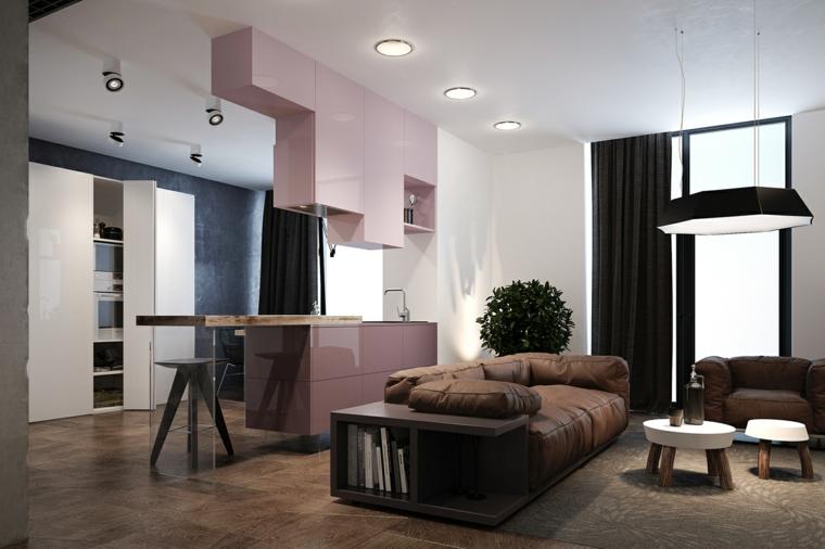 Cucina moderna di colore rosa e inserti di vetro, cucina open space, divano con mobile in legno nero