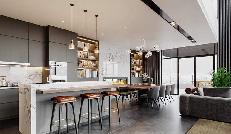 Cucina E Sala Open Space.1001 Idee Per Arredare Salotto E Sala Da Pranzo Insieme Con Stile