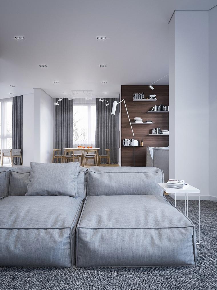 Soggiorni moderni immagini, divano morbido grigio, tende di colore grigio