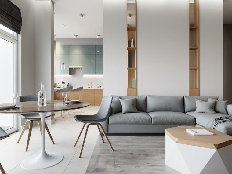 Come arredare un soggiorno rettangolare, divano di pelle grigio, tavolo da pranzo rotondo