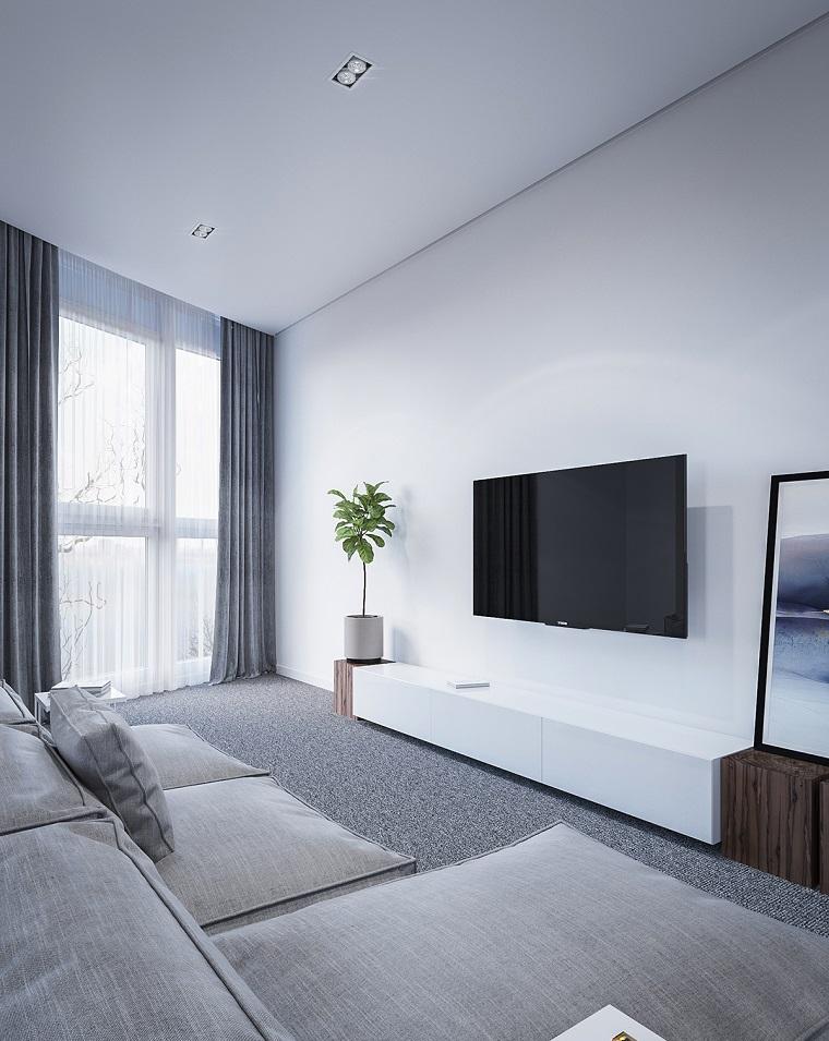 Arredare salotto e sala da pranzo insieme, divano di colore grigio, mobile tv basso