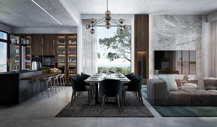 Soggiorni moderni immagini, cucina di colore nero, tavolo da pranzo con sedie