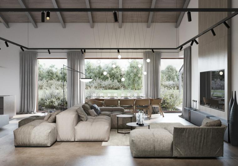 Pavimenti in vinile grigio, divano colore beige, esempi arredamento soggiorno