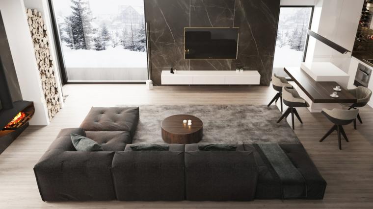 Soggiorni moderni immagini, divano colore grigio, mobile sospeso con tv