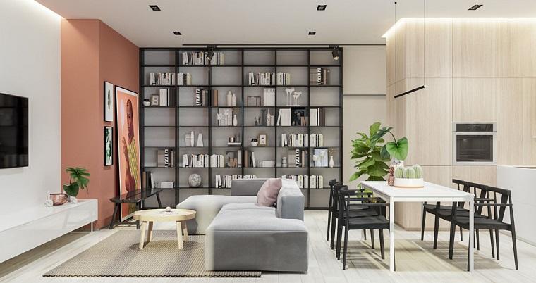 Arredare cucina soggiorno ambiente unico, divano di colore grigio, tavolo da pranzo