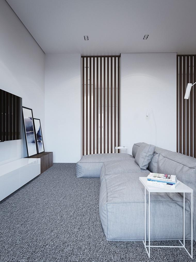 Arredare cucina soggiorno ambiente unico, divano di colore grigio, mobile tv basso