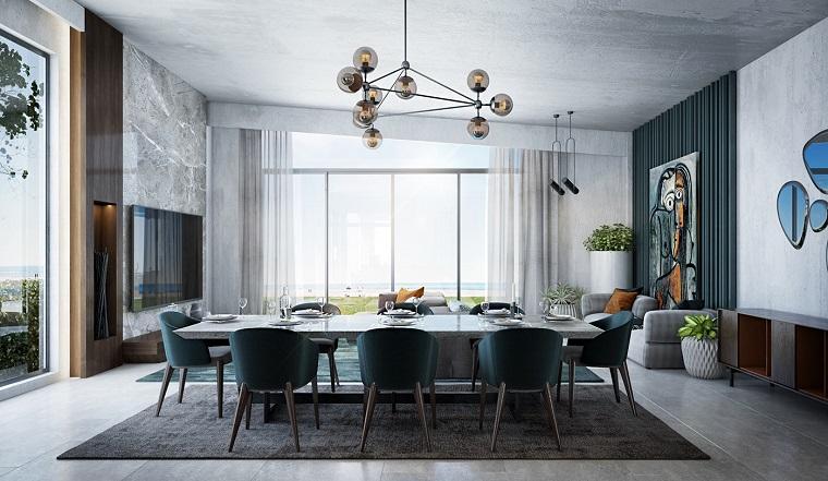 Pareti con quadri, come arredare un soggiorno rettangolare, tavolo da pranzo con sedie