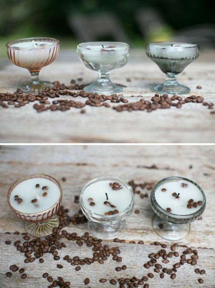 Come fare candele artistiche, bicchieri di vetro con chicchi di caffè per la decorazione