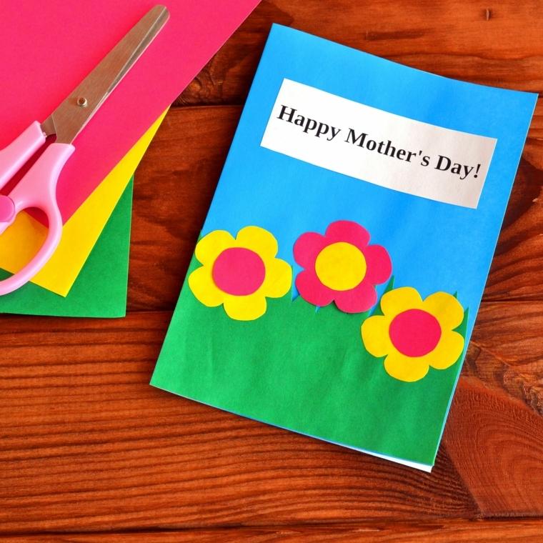idea per biglietti fai da te con disegni per la festa della mamma, fiori gialli e rossi
