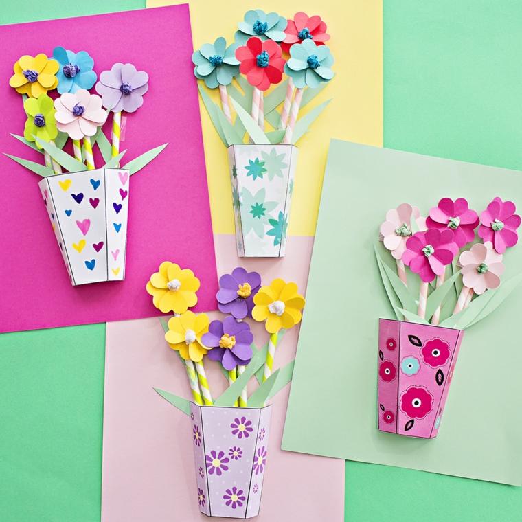 vasi con fiori di carta colorati con decorazioni a forma di fiori e cuori, idea per lavoretti festa della mamma