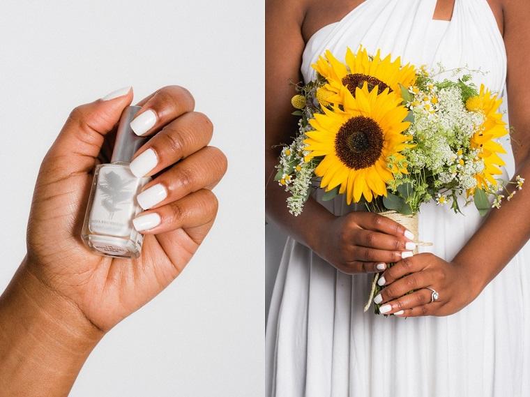 Ricostruzione unghie bianche, donna con la carnagione scura, bouquet sposa girasole