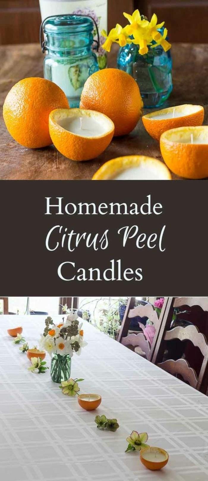 Come fare candele profumate, bucce di arancia da utilizzare come portacandela