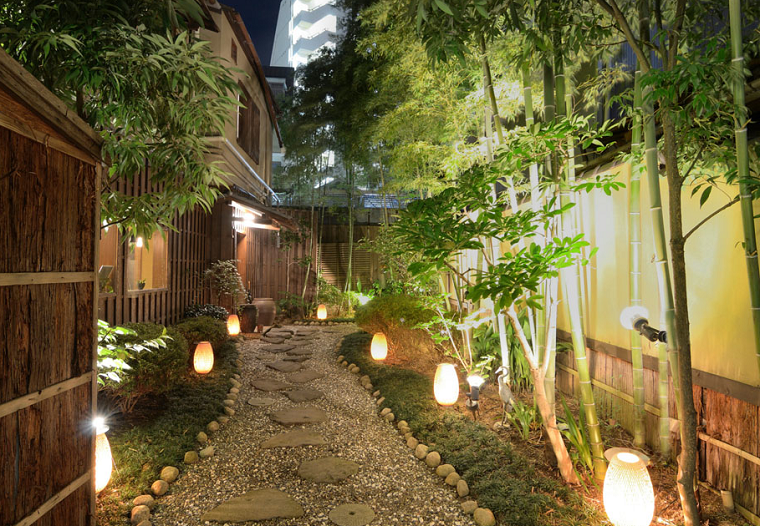 Giardini da copiare, camminamento con ghiaia e sassi, alberi e un'illuminazione soffusa