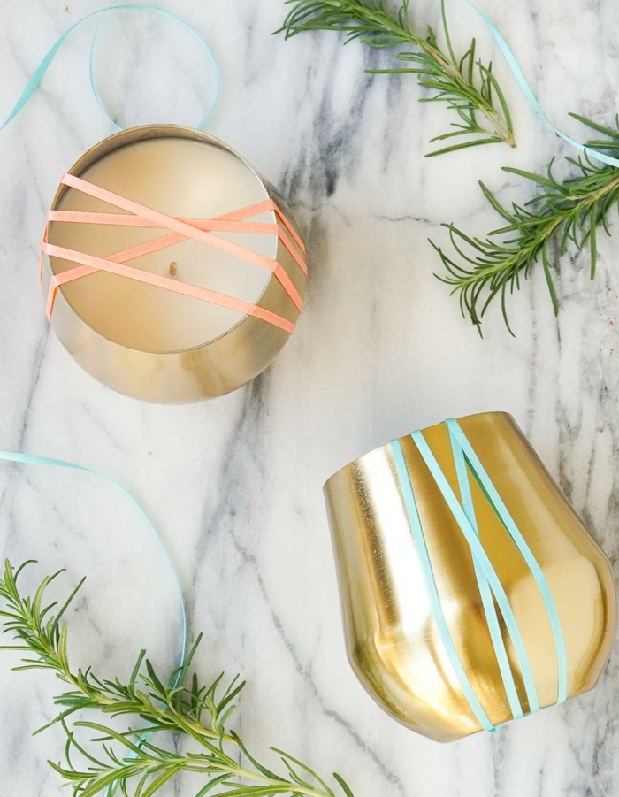 Stoppino candela, contenitore di metallo colore oro decorato con strisce colorate di washi tape