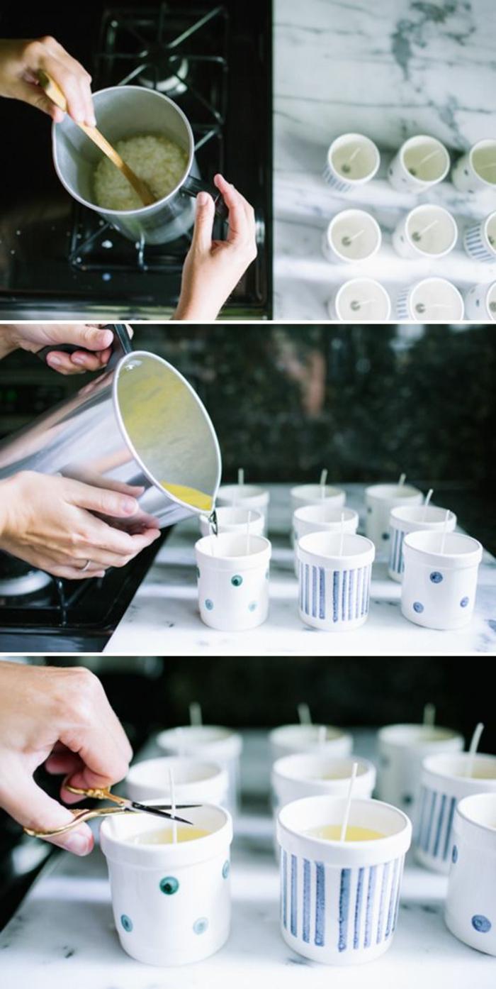 Creare candele, sciogliere la cera in un contenitore e versarla in tazzine con stoppini