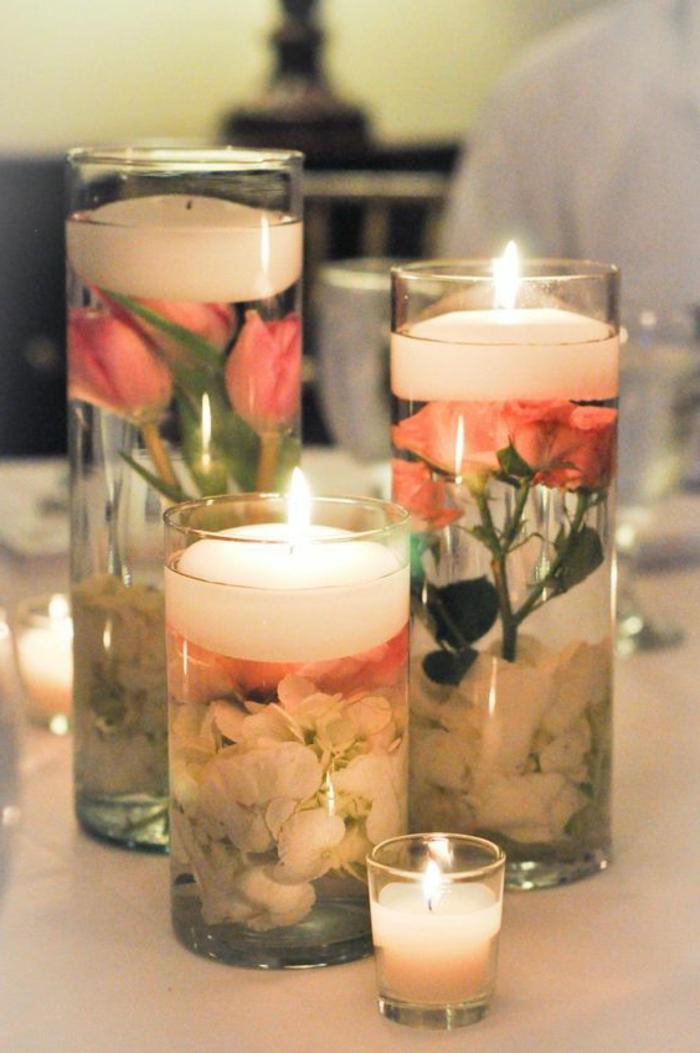 Idea per delle candele profumate fai da te, portacandele di bicchieri di vetro con fiori all'interno