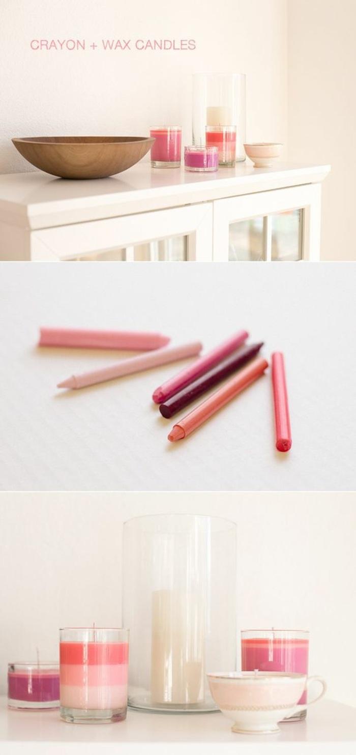 Idea per candele fatte in casa, sciogliere i colori a pastello e versare nella cera liquida