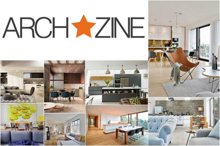 Foto collage di immagini con proposte di arredamento, open space e soluzioni con mobili moderni