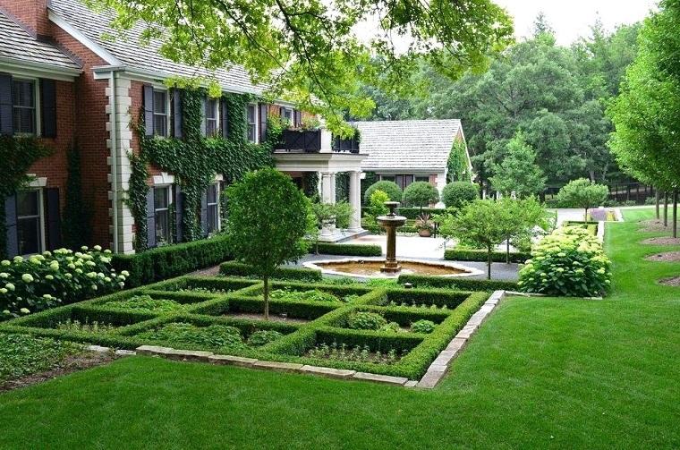 Idee giardino fai da te, decorazione con una fontana e siepe verde, prato e tanti alberi alti