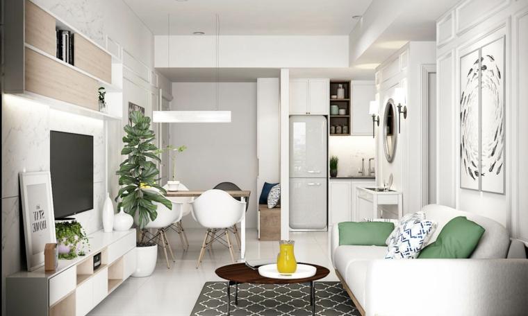 Arredare salotto e sala da pranzo insieme, cucina con mobili bianchi, tavolo di legno con sedie