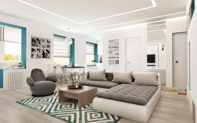 Arredare salotto piccolo, divano angolare grigio, tavolino legno quadrato