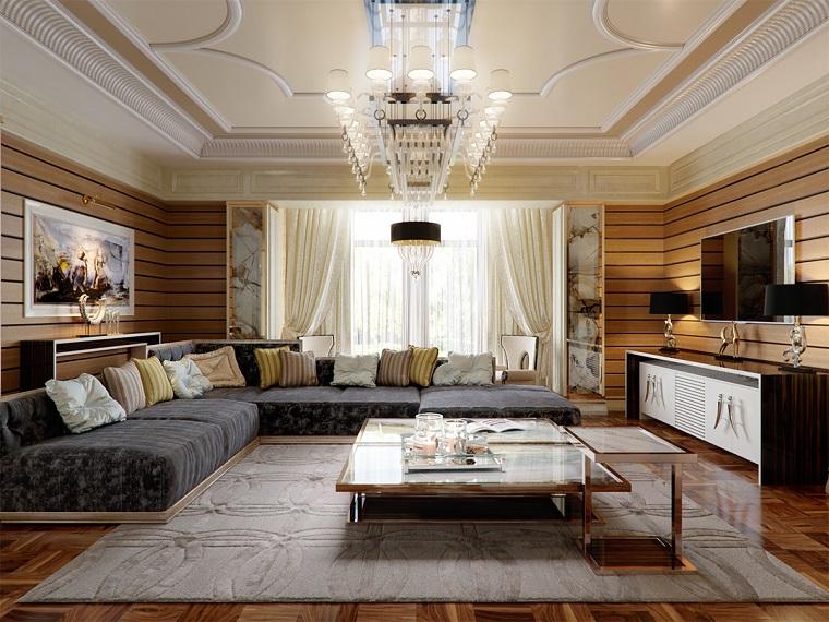Arredare piccoli spazi, divano di colore grigio, soffitto con scalanature, tappeto grigio
