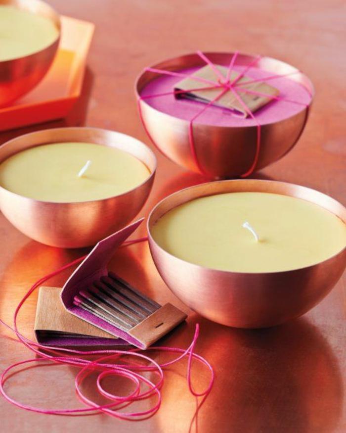 Fiammiferi profumati in sacchettino di carta, candele profumate fai da te in ciotole di rame