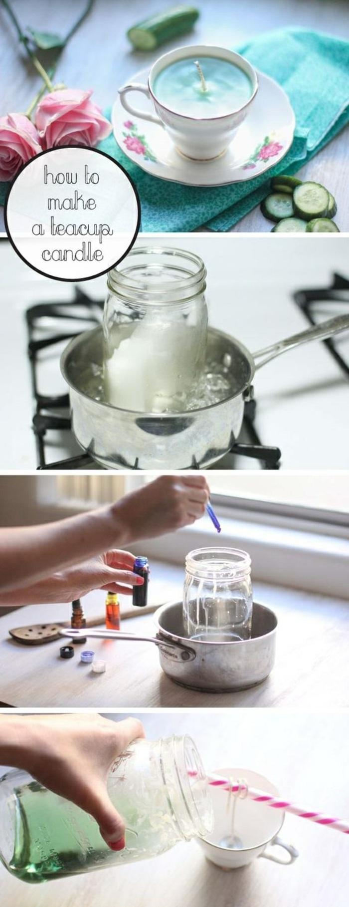 Candele fai da te, sciogliere la cera e aggiungere dei coloranti, versare in tazzine da tè come portacandele