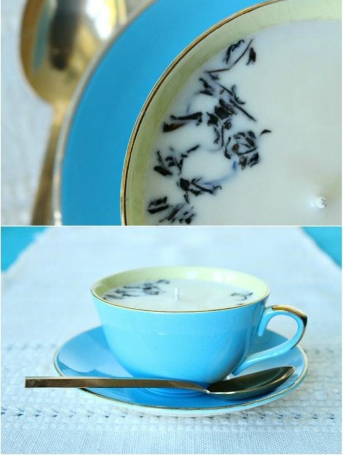Stoppino candela colore bianco, tazzine caffè utilizzata come portacandele